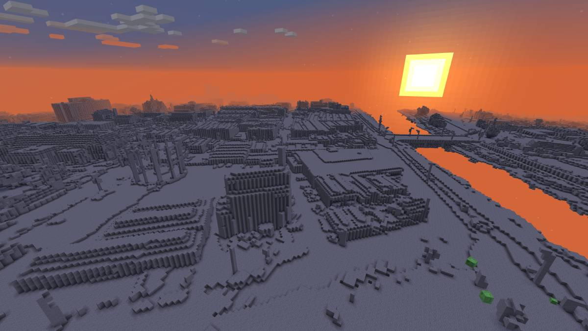 VIRTUAL: A view of Launceston gasworks in the new Minecraft map. Picture: Supplied